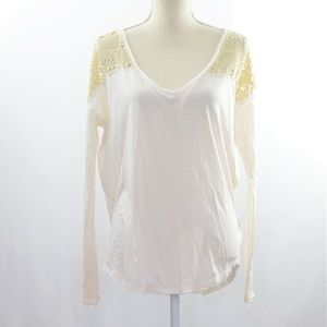 We The Free Long Sleeve Eyelet Lace Top